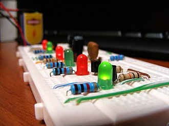 Prototype - A simple electronic circuit prototype on a breadboard.