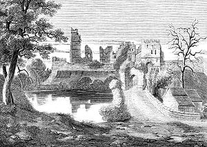 "Prudhoe Castle - Prudhoe Castle in ""Old England: A Pictorial Museum"" (1845) by C. Knight"