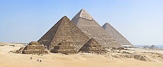 Giza pyramid complex - The three main pyramids at Giza, together with subsidiary pyramids and the remains of other structures