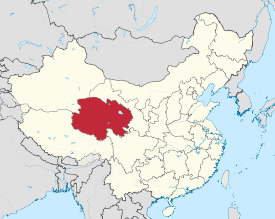 Qinghai is heichlichtit on this map