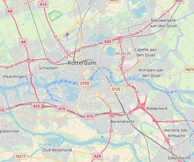 Réseau autoroutier Rotterdam OPS
