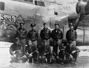"RAF Debach - Crew photo of 493d Bombardment Group Consolidated B-24J Liberator 44-40321 ""Old Sack"", RAF Debach, Photo taken spring 1944."