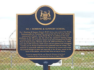 Jarvis, Ontario - Image: RCAF No. 1 B&GS Historical Plaque