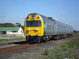 NZR RM class (Silver Fern) - Silver Fern railcar RM 24 near Papakura, Auckland.