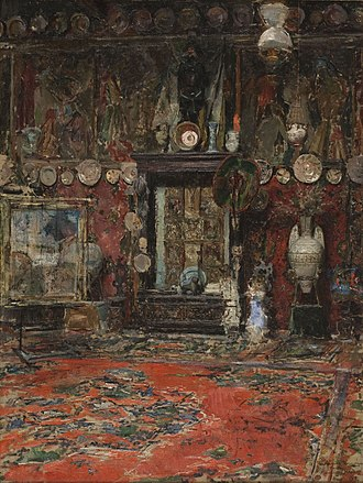 Marià Fortuny - Mario Fortuny's Studio, a painting by his friend and brother-in-law, Ricardo de Madrazo