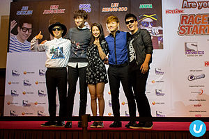 Running Man (TV series) - Five of Running Man's permanent cast (Haha, Lee Kwang-soo, Song Ji-hyo, Kim Jong-kook and Ji Suk-jin) in Malaysia at a fan meeting