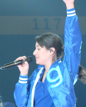 "Rachel Berry - Lea Michele as Rachel Berry, performing ""Somebody to Love""."