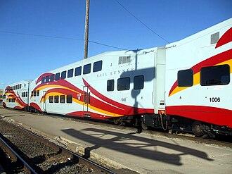 New Mexico Rail Runner Express - Detail of Rail Runner commuter cars