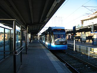 Nockebybanan - The Alvik metro station with cross-platform interchange to Nockebybanan.  The Metro serves the outer tracks, and the Nockebybanan trams serve the inner, allowing a convenient transfer between the two lines.
