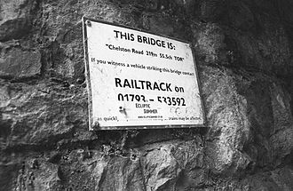 Railtrack - Photograph of a sign identifying a bridge maintained by Railtrack
