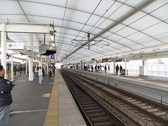 Yodo Station - Railway platform from Yodo Station (February 10, 2013)