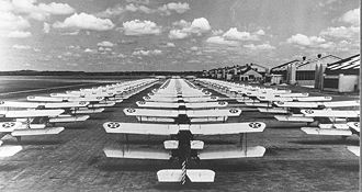 Flying Division, Air Training Command - A field of Consolidated PT-3s stands ready for trainees