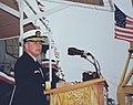 Rear Adm. Terrance T. Etnyre, USN, speaks during the christening ceremony for the guided missile destroyer USS Shoup (DDG 86).jpg