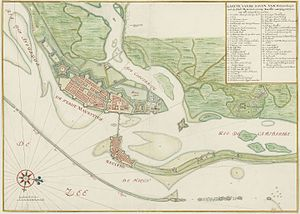 Mauritsstad - Watercolour chart of the cities of Mauritsstad and Recife in the 17th century.