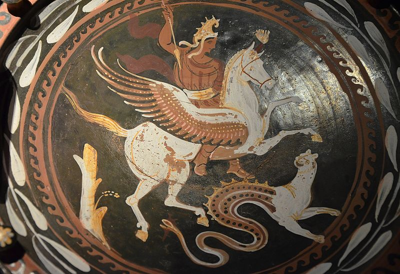 File:Red-figure plate showing Bellerophon riding Pegasus and a Chimera, by the Baltimore painter, second half of the 4th century BC, Monsters. Fantastic Creatures of Fear and Myth Exhibition, Palazzo Massimo alle Terme, Rome (12836992534).jpg