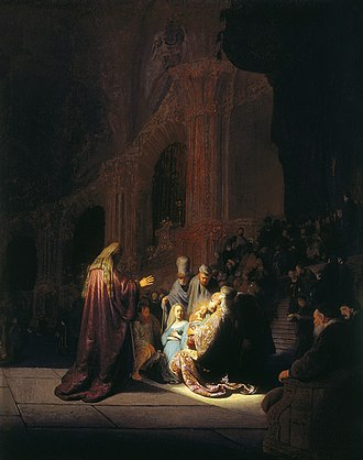 Simeon (Gospel of Luke) - Simeon in the Temple, by Rembrandt van Rijn, 1631
