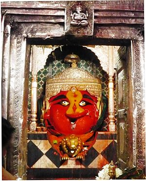 Renuka - The icon of Renuka at the sanctum of the Mahur temple, a Shakti Peetha