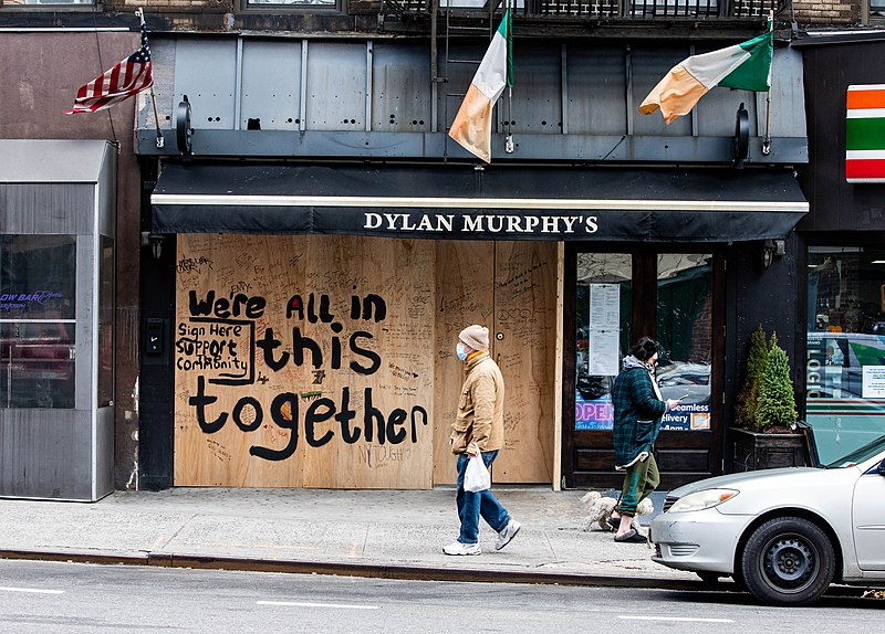 """File:Restaurant Displays Sign 'We're All In This Together"""" New York City COVID19 - 49784186793.jpg"""