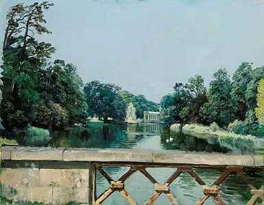 Rex Whistler - The Dairy Bridge Looking towards the Palladian Bridge, Wilton Park, Wiltshire 1942.jpg