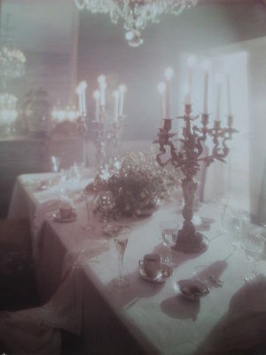 Dining room in the de Evia home in the Rhinela...