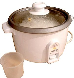 Rice cooker - Inexpensive electric rice cooker containing cooked rice