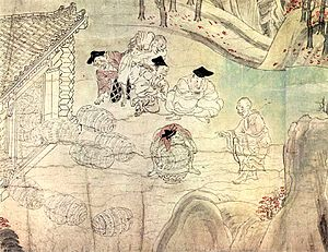 "Narrative art - Secene of ""Rich man giving a rice ball to the monk"", from the 12th-century Japanese Shigisan-engi handscroll"