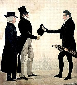"English: ""Three Gentlemen Greeting Each O..."