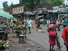 A street scene with people, cycles, cows and temple and old buildings in the background
