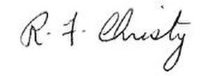 Robert F. Christy - Image: Robert F. Christy signature