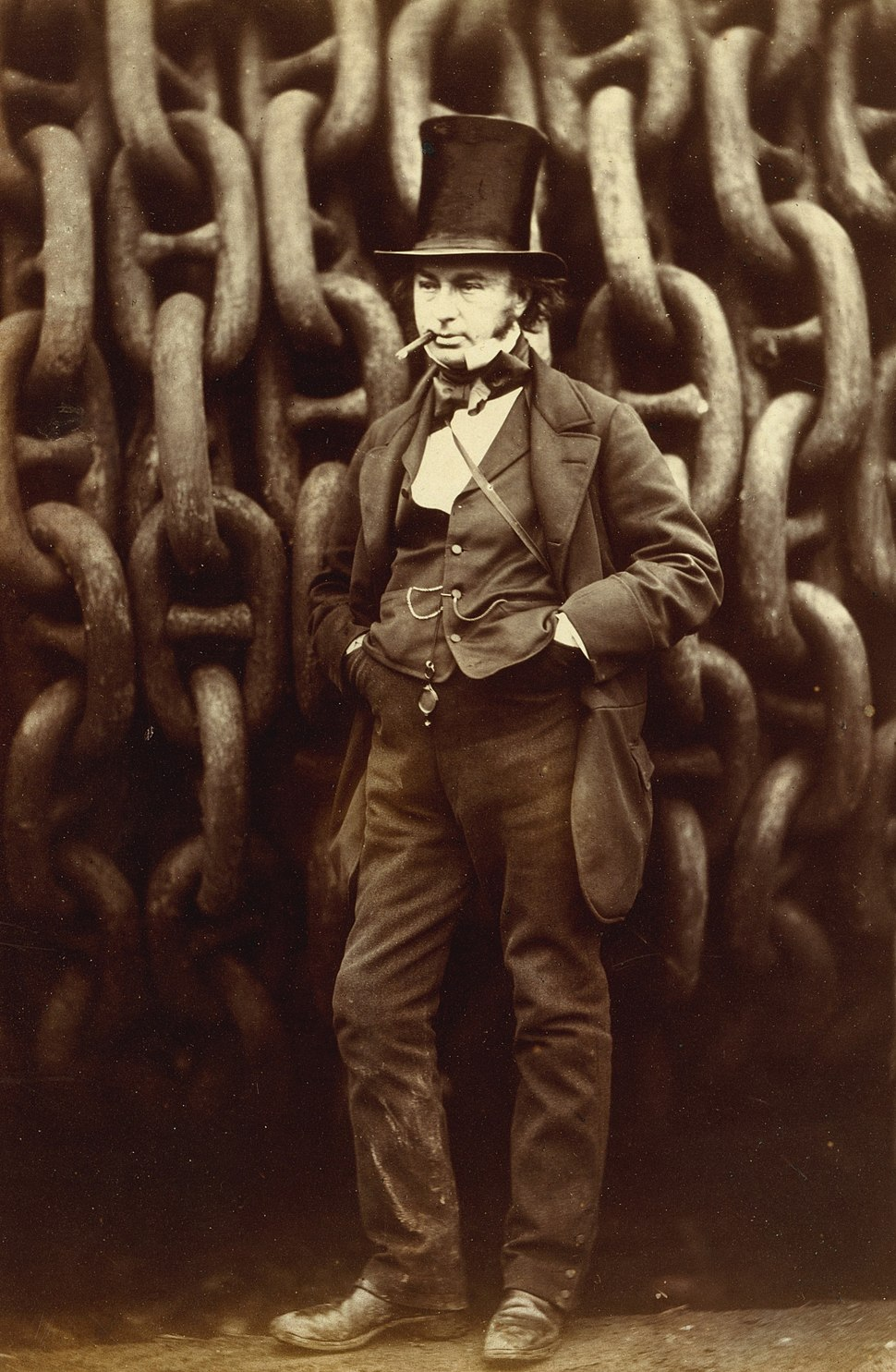Robert Howlett (Isambard Kingdom Brunel Standing Before the Launching Chains of the Great Eastern), The Metropolitan Museum of Art (cropped)
