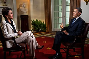 Medium shot - A medium two-shot of Robin Roberts interviewing Barack Obama