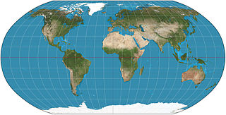 Robinson projection compromise map projection defined via a look-up table of precomputed values