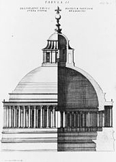 Engraved image in two parts. The left side shows the exterior of the dome, and the right side shows a cross section, the dome is constructed of a single shell, surrounded at its base by a continuous colonnade and surmounted by a temple-like lantern with a ball and cross on top.