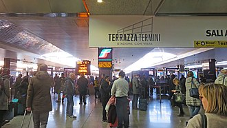 Roma Termini railway station - Platforms and concourse area is separated by ticket control gate for security reason   (Feb 2017)