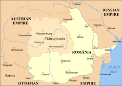 United Principalities (Romania) 1859–1878, shown in light beige