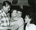 Ronald Reagan, son Ron, Nancy Reagan and daughter Patti outside their Pacific Palisades home in California.jpg