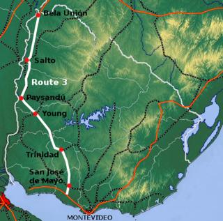 Route 3 (Uruguay) highway in Uruguay