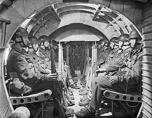 Glider infantry - Interior of a Horsa glider, looking to the rear from the cockpit.