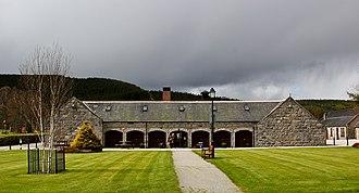 Royal Lochnagar distillery - The main building and visitor centre of the Royal Lochnagar Distillery in 2012