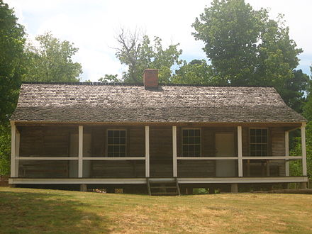 Royston Log House at Historic Washington State Park in southwest Arkansas was built in 1836. Royston Log House closeup IMG 1486.JPG
