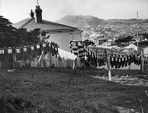 Rugby union in New Zealand - Rugby jerseys drying, Wellington c. 1930s