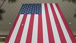 An American flag inside John Wayne Airport (SNA).