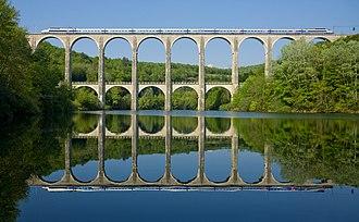 Ain - The Cize–Bolozon viaduct, a road–rail bridge crossing the Ain gorge.