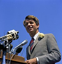 Robert F. Kennedy addresses the crowd at San Fernando Valley State College in 1968