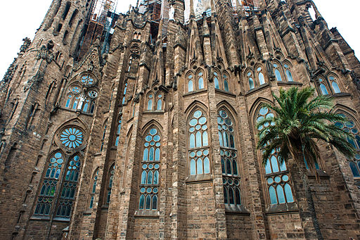 Sagrada Família, Basilica and Expiatory Church of the Holy Family (Basílica i Temple Expiatori de la Sagrada Família) ( UNESCO World Heritage Site) as seen from Carrer Provença. Barcelona, Catalonia, Spain