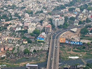 Saidapet - Aerial view of Maraimalai Adigal Bridge, previously known as Marmalong Bridge, across Adyar River in Saidapet