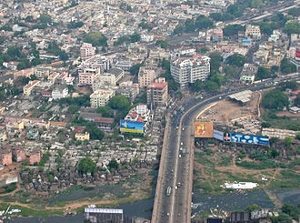 Saidapet - Aerial view of Maraimalai Adigal Bridge, previously known as Marmalong Bridge, across Adyar River in Saidapet