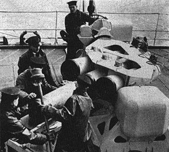 Squid (weapon) - Sailors loading Squid anti-submarine mortar in 1952