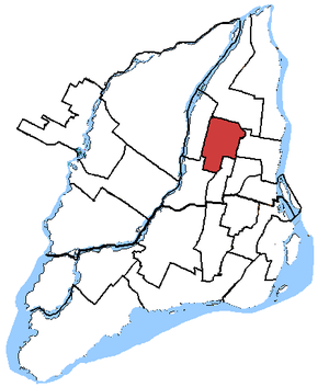 Saint-Léonard—Saint-Michel - Saint-Léonard—Saint-Michel in relation to other federal electoral districts in Montreal