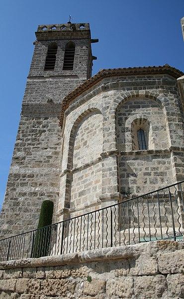 Saint-Pons-de-Mauchiens (Hérault) - église Saint-Pons-de-Cimiez - chevet et clocher.